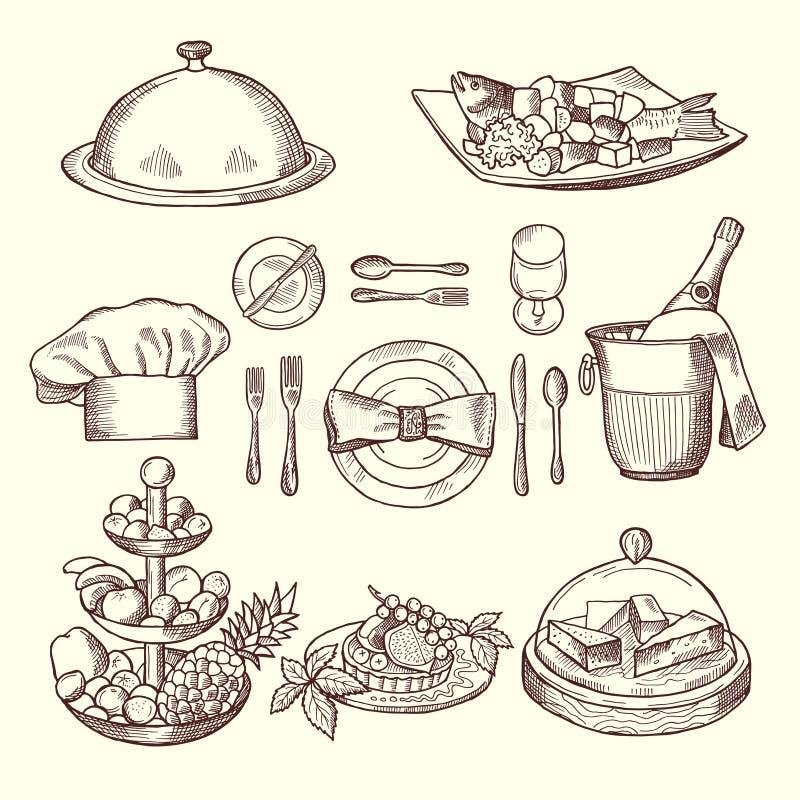 Foods på disk Monokrombilder för designrestaurangmeny royaltyfri illustrationer