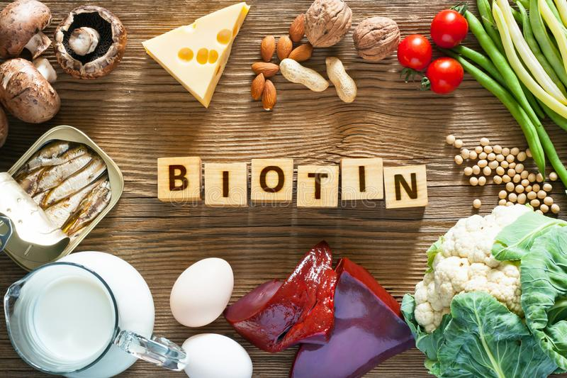 Foods rich in Biotin. Foods as liver, eggs, cheese, sardines, soybeans, milk, cauliflower, green beans, mushrooms, peanuts, walnuts and almonds on wooden table stock images