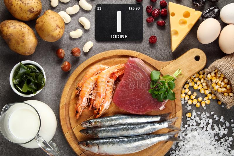 Foods rich in iodine royalty free stock photo