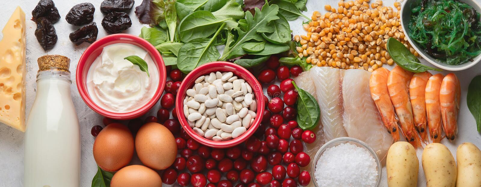 Foods rich in iodine royalty free stock images