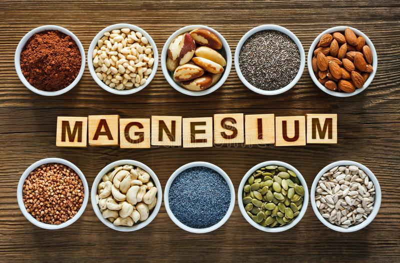 Foods rich in magnesium. As pumpkin seeds, blue poppy seed, cashew nuts, almonds, sunflower seeds, buckwheat, cocoa, chia, pine nuts and brazil nuts stock photography