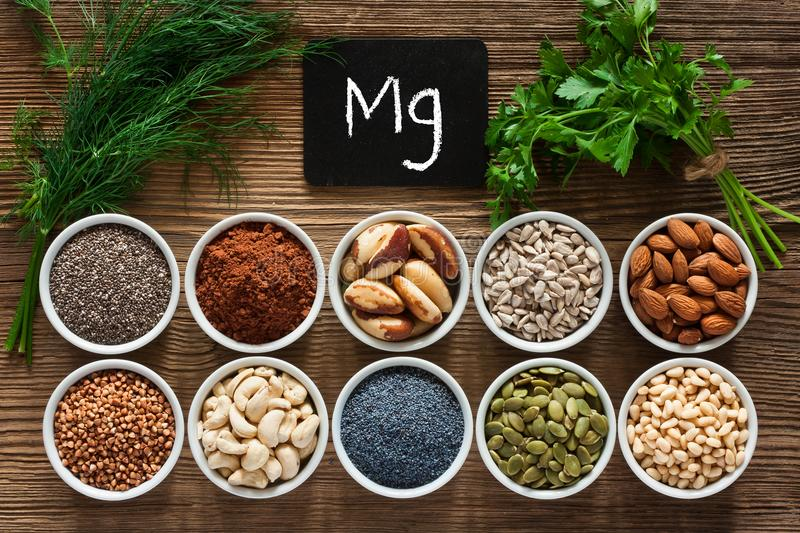 Foods rich in magnesium. As pumpkin seeds, blue poppy seed, cashew nuts, almonds, sunflower seeds, buckwheat, cocoa, chia, pine nuts, brazil nuts, parsley royalty free stock image