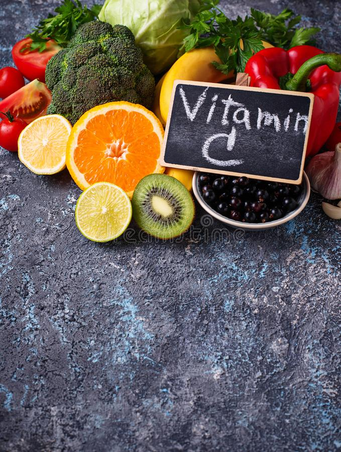 Foods rich in vitamin C. Healthy eating stock image