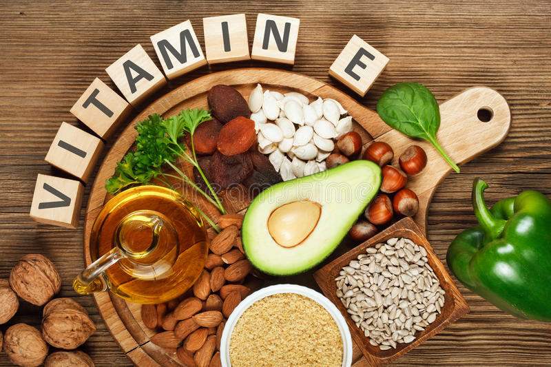 Foods rich in vitamin E stock images