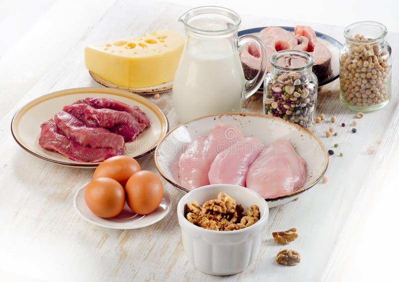Foods som är höga i protein royaltyfria foton