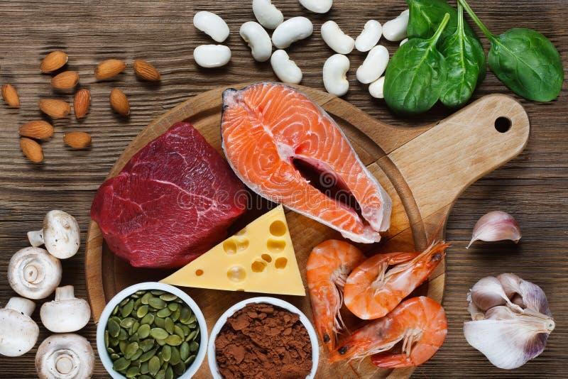 Foods som är höga i zink arkivbild