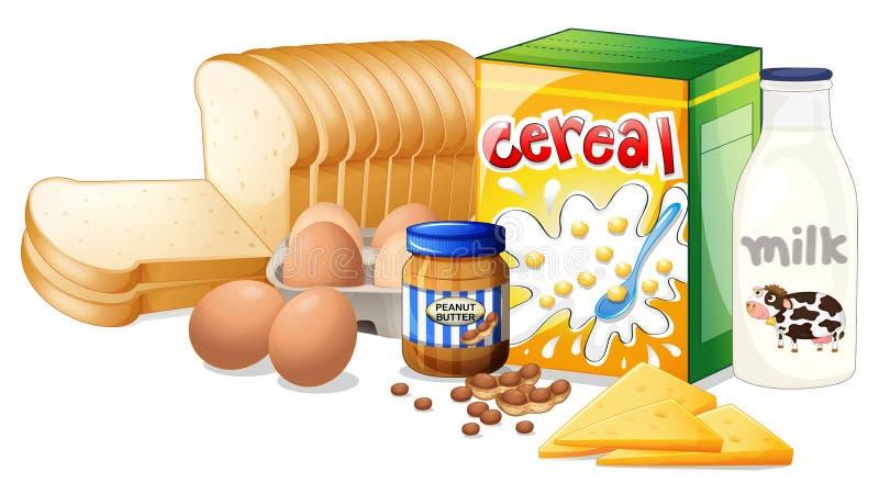 Foods som är ideala för frukost stock illustrationer