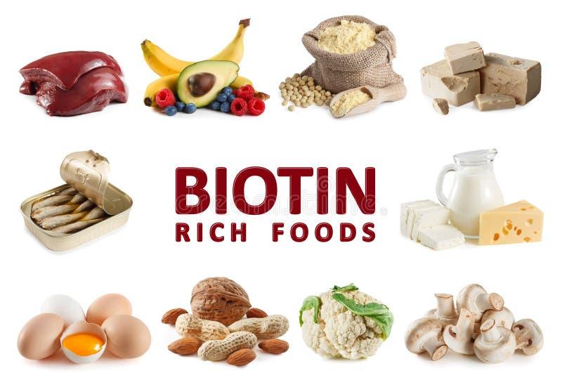 Foods som är rika i Biotinvitaminet B7 royaltyfria bilder