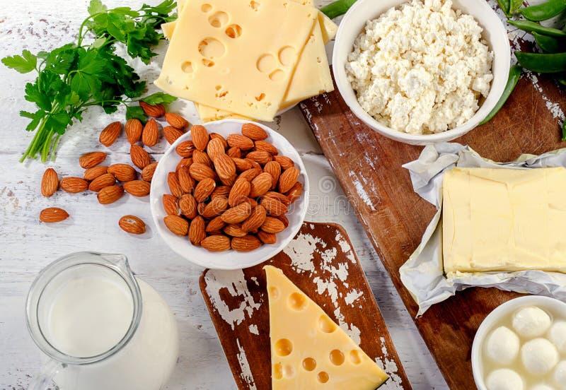 Foods som är rika i kalcier royaltyfria bilder