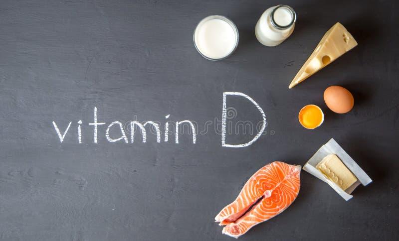 Foods som innehåller och som är rika i vitamin D royaltyfria bilder