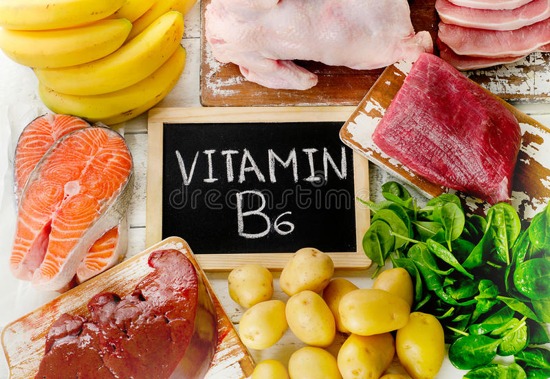 Foods with Vitamin B6Pyridoxine. Healthy eating. Top view royalty free stock images
