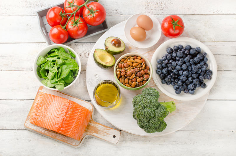 Foods for your brain. stock images