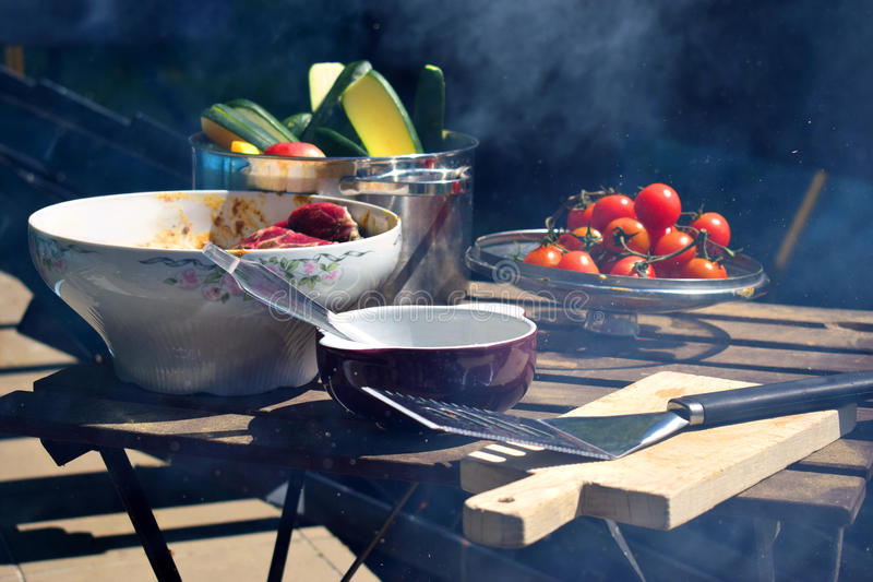 Foodstuff for grilling. stock photo