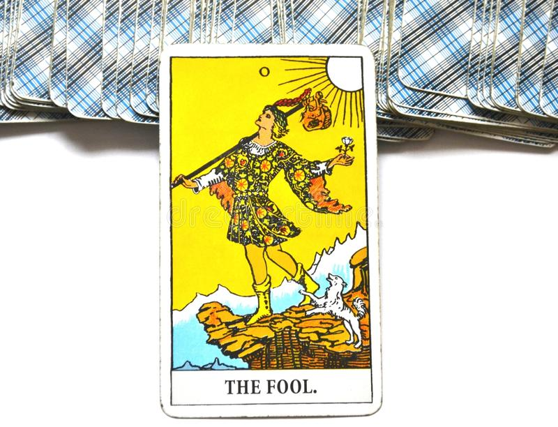 The Fool Tarot Card Begginins Rebirth Faith. This cards is about Beginnings, Void, Rebirth, Renewal, New Phase, Fresh, Open to Change, Leap of Faith, Blind Faith stock images