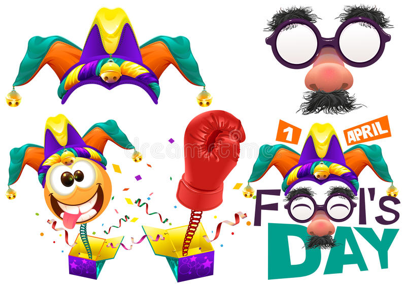 Fools cap smile on spring. Funny glasses nose. April Fools Day lettering text for greeting card. 1 April Fools Day vector illustration