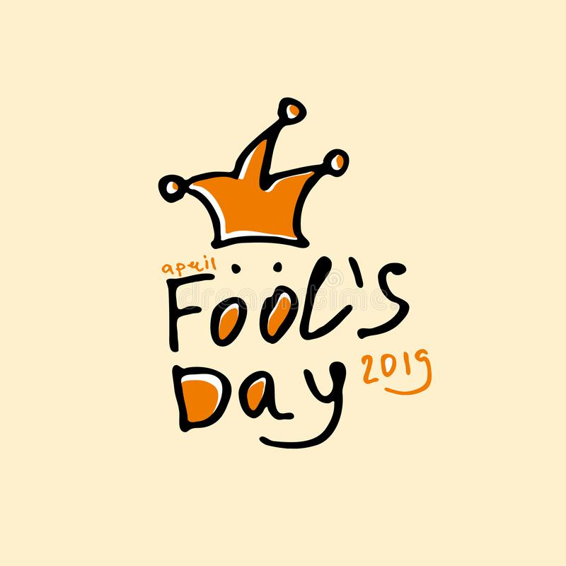 Fools Day. Cartoon style graphics marker drawn logo with a jester on a spring. Handwritten logo for fool`s day. Vector template royalty free illustration