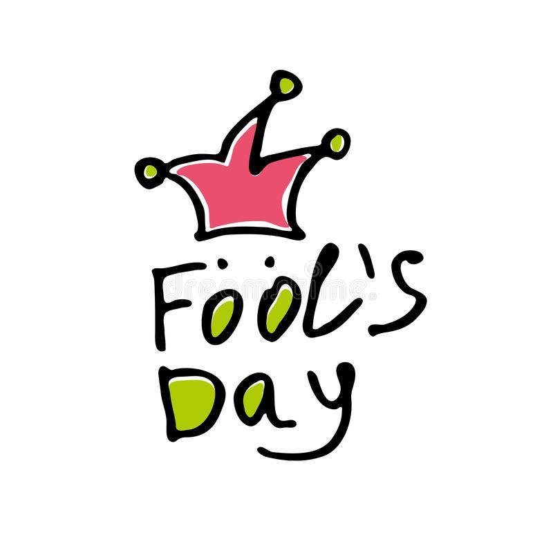 Fools Day. Cartoon style graphics marker drawn logo with a jester on a spring. Handwritten logo for fool`s day. Vector template stock illustration