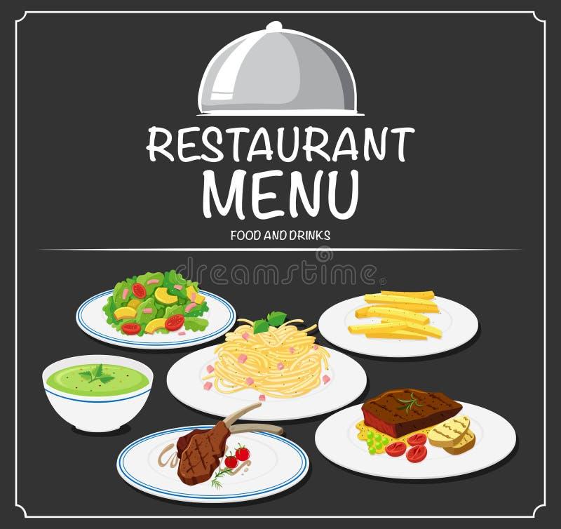 Foon no menu do restaurante ilustração royalty free