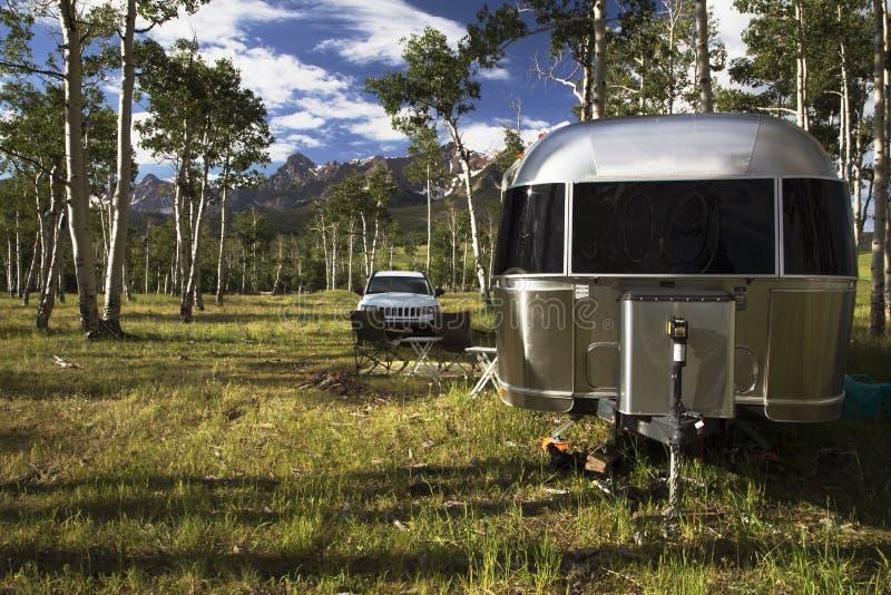 28 foot Airstream on Hastings Mesa near Ridgway, Colorado, USA stock images