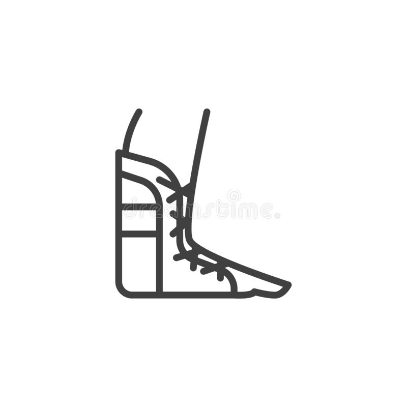 Foot ankle brace line icon. Linear style sign for mobile concept and web design. Orthopedic Ankle Bandage outline vector icon. Symbol, logo illustration stock illustration