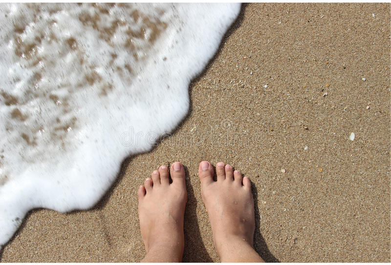 Foot on the Beach. Foot on the Sand in Anyer Beach, Banten, Indonesia stock photo