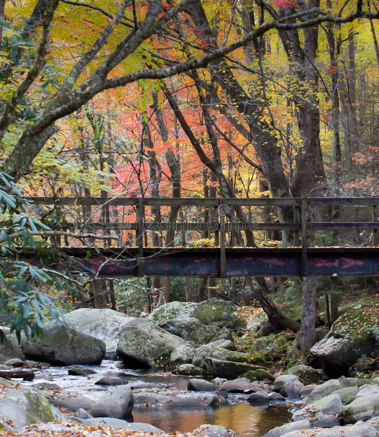 Foot Bridge over rocky stream in the Smoky Mountains stock photography