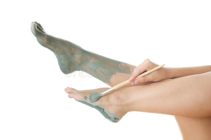 Foot Care. Mud treatment stock images