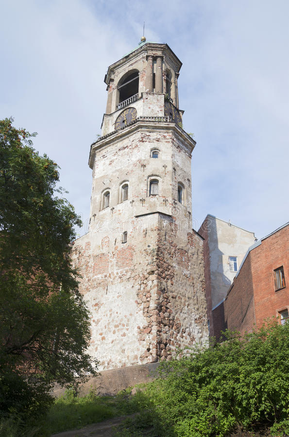 At the foot of the Clock tower, summer evening. Vyborg stock photos