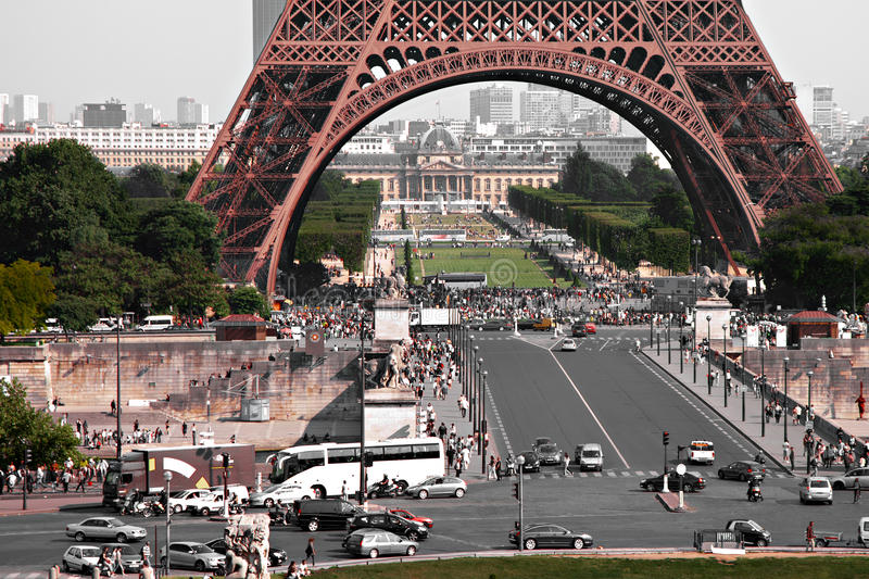 Foot of the Eiffel Tower stock images