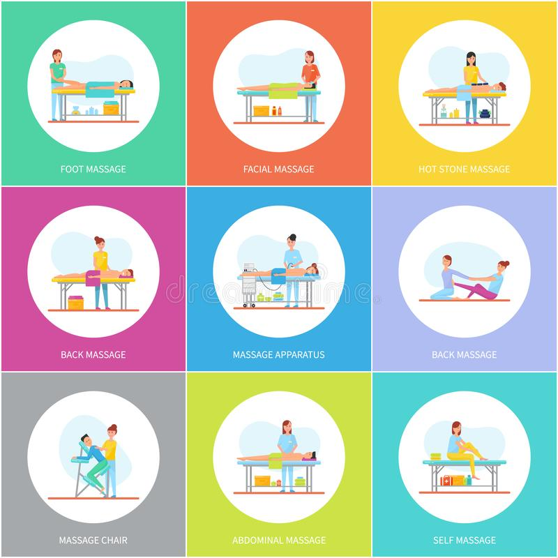 Foot Facial and Hot Stones Massage Icons Vector. Foot facial and hot stones massage, icons set vector. Abdominal and facial care, patients and clients on tables royalty free illustration