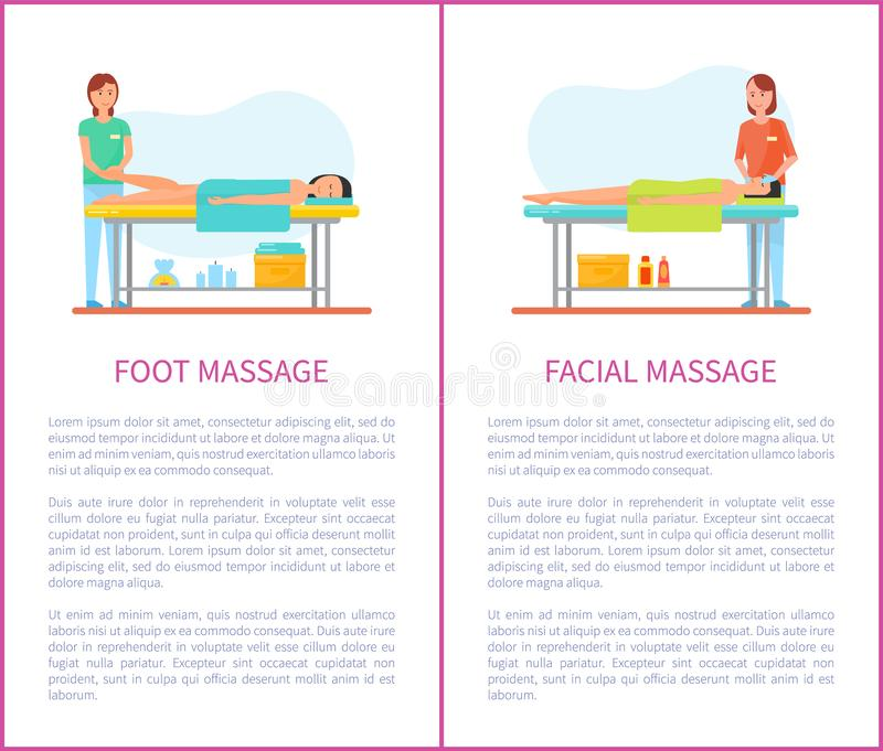 Foot and Facial Medical Massage Cartoon Vector Set. Foot and facial medical massage session cartoon vector set. Masseur in uniform and patient lying on table stock illustration
