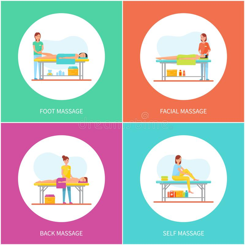 Foot and Facial Self Massage Care Icons Set Vector. Treatment and therapy, aroma candle and oils lotions usage. Professional massaging techniques royalty free illustration