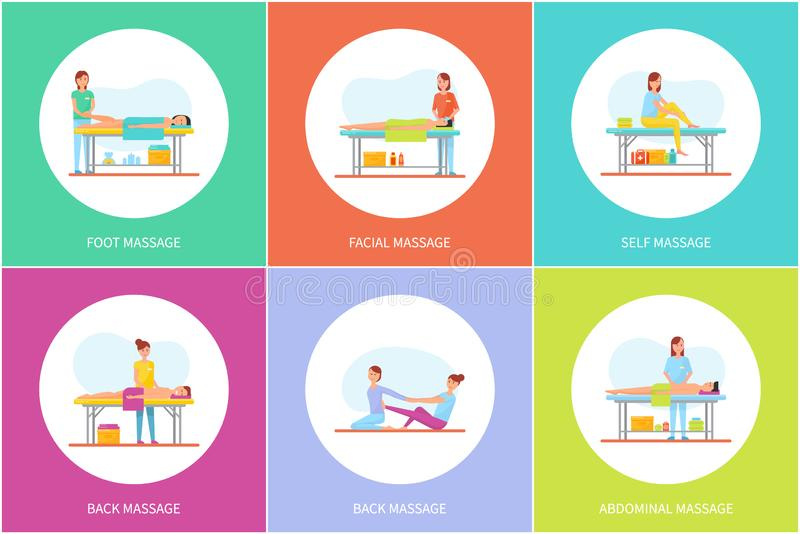 Foot Facial and Self Massage Icons Set Vector. Foot facial and self massage, icons set vector. Masseuses using lotions and creams, aroma candles to treat clients vector illustration