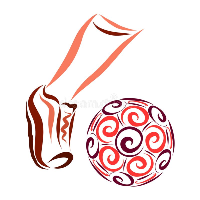 Foot kicking the ball with a pattern of spirals, football vector illustration