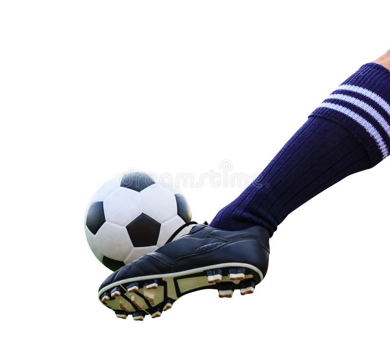Foot kicking soccer ball isolated stock photos