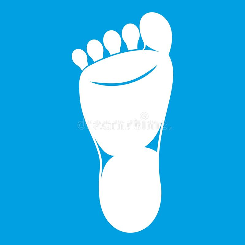 Foot left leg icon white. Isolated on blue background vector illustration royalty free illustration