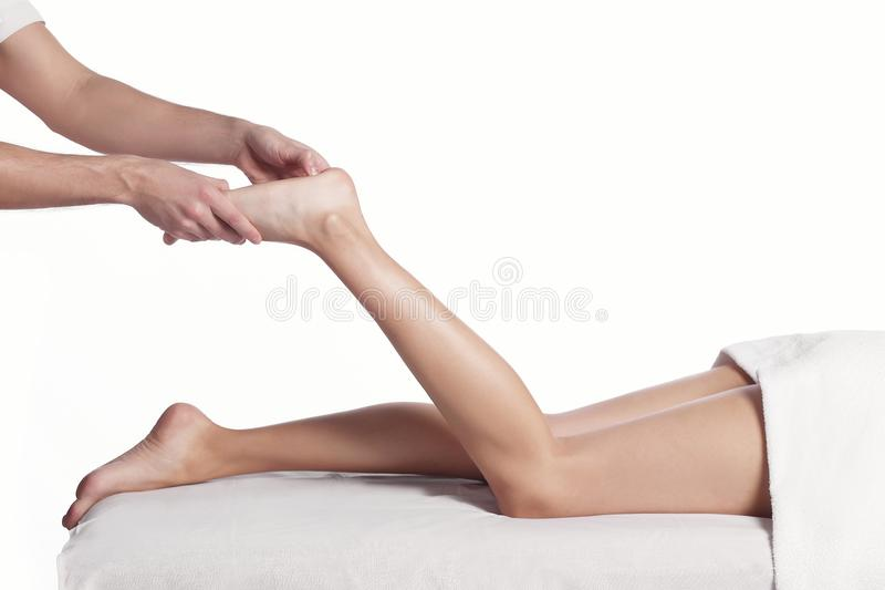 Foot massage technique close up. royalty free stock photos
