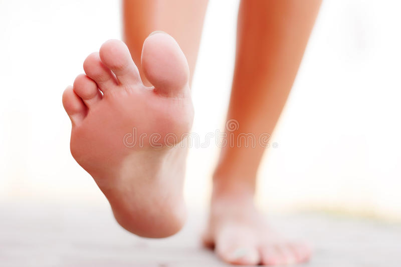 Foot outside. Closeup of walking royalty free stock photos