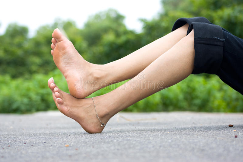 Foot over road royalty free stock photos