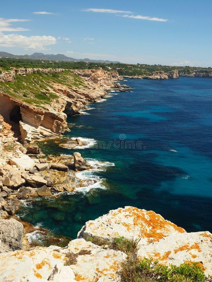 Foot path on mallorca to cala marmols royalty free stock photo