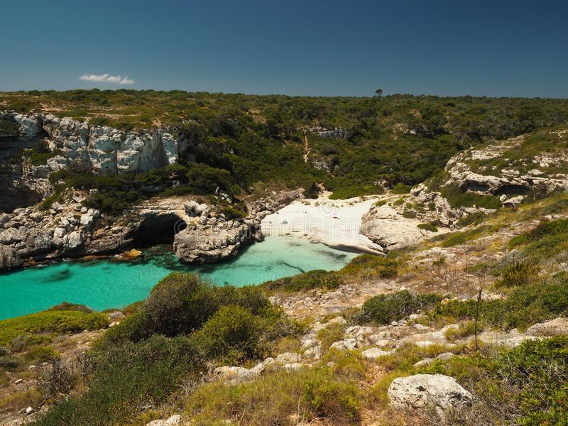 The View on the Way to Cala Marmols in Mallorca, Spain Balearic Islands royalty free stock image