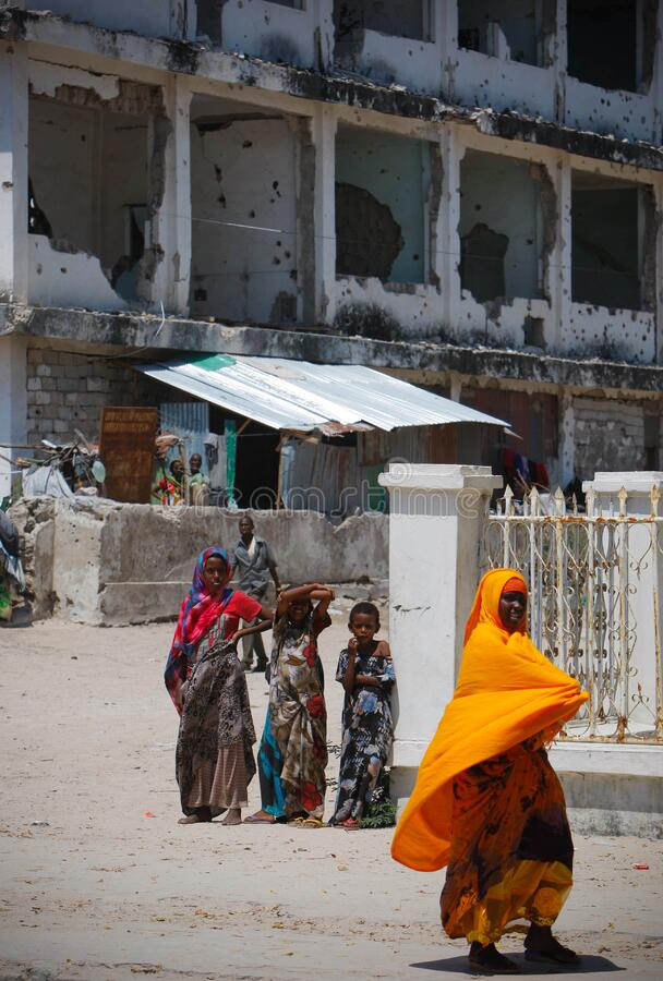On foot patrol in Mogadishu with an AMISOM Formed Police Unit 11 royalty free stock images