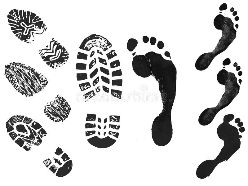 Foot print and shoe print stock illustration