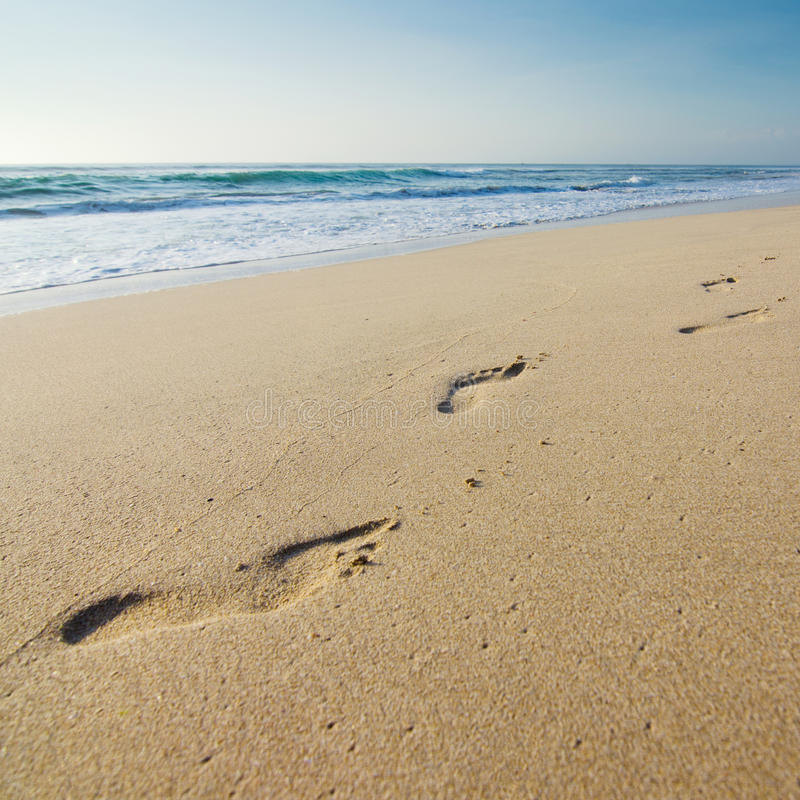 Foot prints on the beach stock images