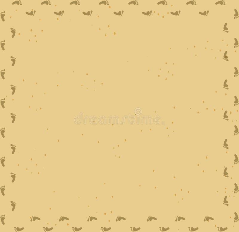 Foot Prints Track Frame On Sand Desert Background. Stock Vector ...