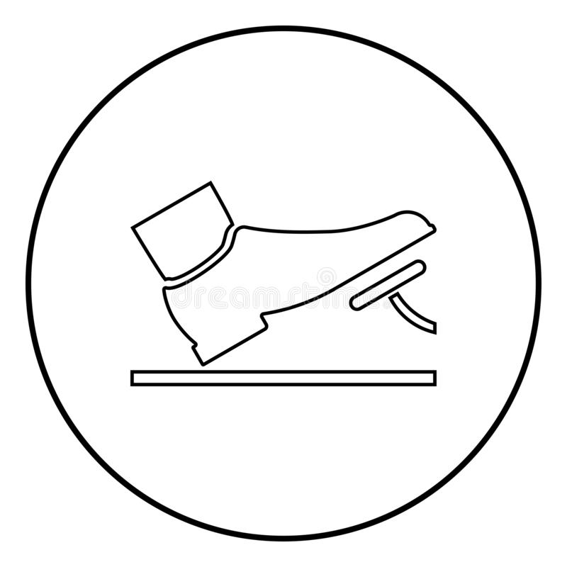Foot pushing the pedal gas pedal brake pedal auto service concept icon black color illustration in circle round. Foot pushing the pedal gas pedal brake pedal royalty free illustration