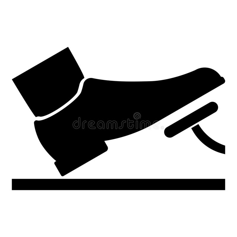 Foot pushing the pedal gas pedal brake pedal auto service concept icon black color illustration. Foot pushing the pedal gas pedal brake pedal auto service stock illustration