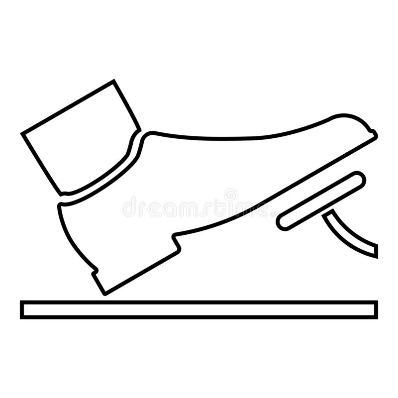 Foot pushing the pedal gas pedal brake pedal auto service concept icon black color illustration outline. Foot pushing the pedal gas pedal brake pedal auto vector illustration