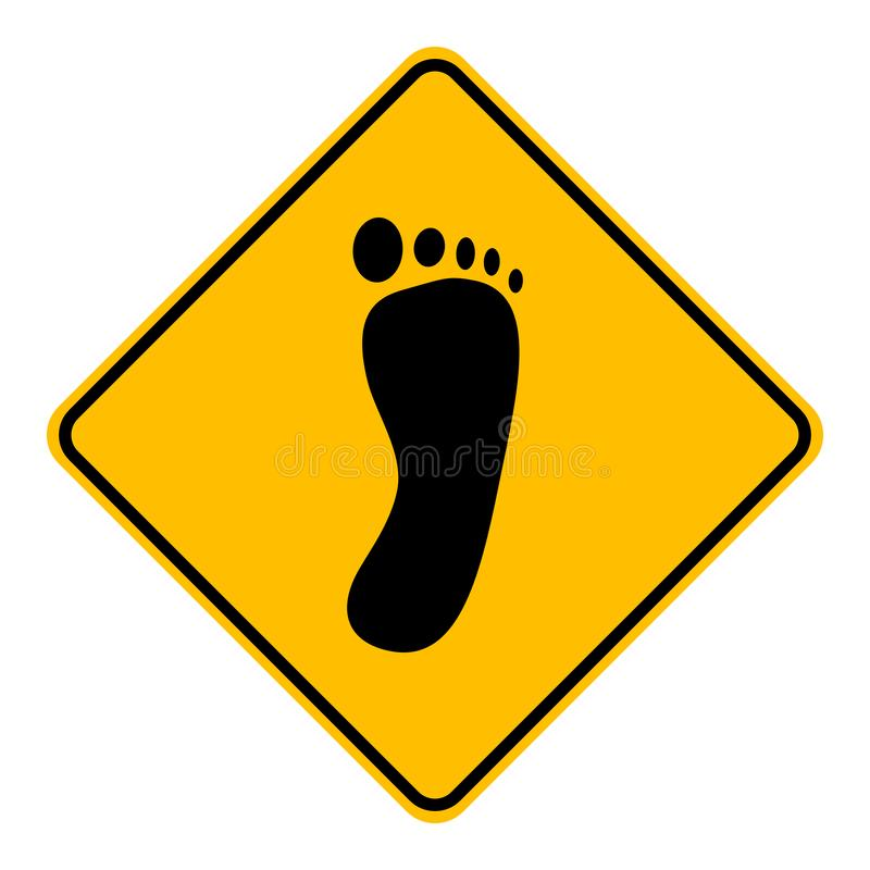Foot and road sign. As vector illustration vector illustration