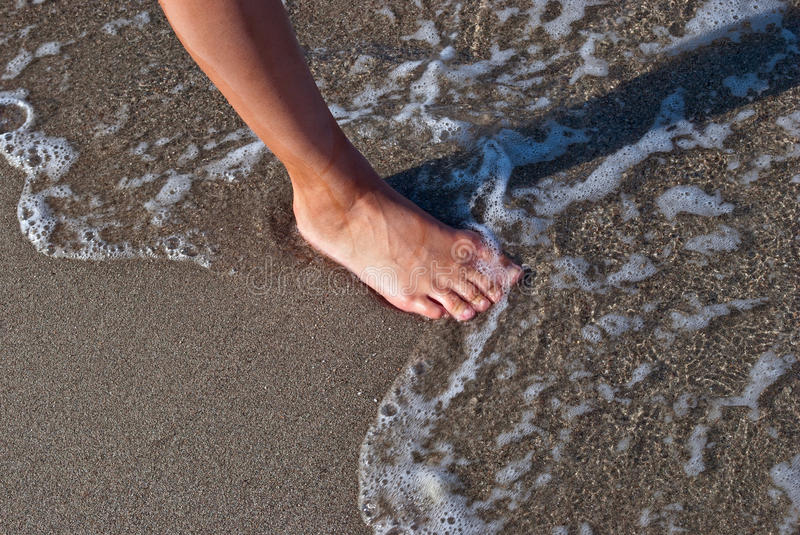 Foot On The Sand. Stock Photos